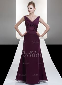 Bridesmaid Dresses - $100.92 - A-Line/Princess V-neck Floor-Length Chiffon Satin Bridesmaid Dress With Ruffle (0075058382)