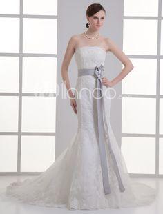 Spitze Mermaid-Hochzeitskleid mit trägerlosem Design und Pailletten in Elfenbeinfarbe - Milanoo.com