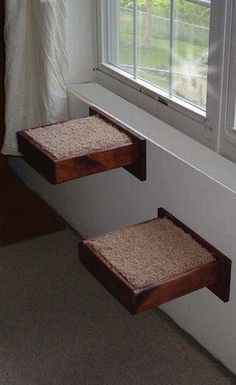 "Why couldn't this be made using old dresser drawers, or recycled from a kitchen getting in new cabinets? Couple of ""L"" brackets and some soft bedding; ohhh, so comfy! Cat Walkway, Cat Shelves, Corner Shelves, Diy Cat Tree, Cat Playground, Cat Room, Pet Furniture, Cat Wall, Space Cat"