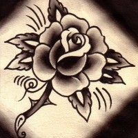 modele oldschool d'un dessin tatouage rose