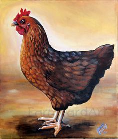 Chicken Art~ I don't know if its a leghorn or a Rhode Island Red but its a pretty hen!