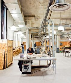 On the lowest level of the building is the materials and fabrication workshop, open and available to all students.
