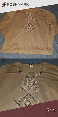 Passion 4 Fashion Tan Embellished Sweater Large NWOT,  awesome sweater, lightweight and perfect for fall! Passion 4 Fashion  Sweaters Crew & Scoop Necks