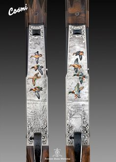 Engravings Dassa Italy. Cosmi Semi-Automatic Shotgun. Extra fine bulino game scene and deep ornamental basso-relief. Ducks enamels colors exclusive by Dassa Brothers Italy.