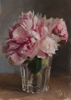 Peonies in a glass - click anywhere outside of image to close, Postcard from  Provence-painting