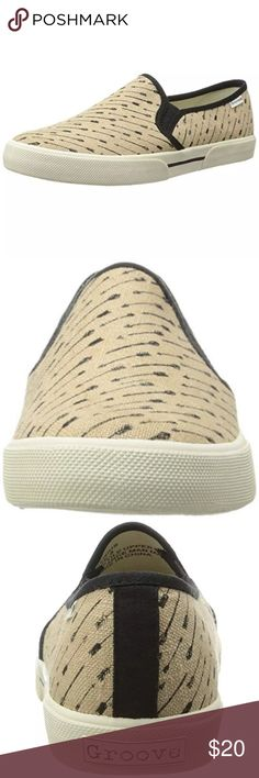 ⚡SALE⚡Groove Genius Slip Ons Adorable Beige Slip Ons in 'Natural Arrow'  New with box Fabric is Canvas Bundle for discounts! Reasonable offers considered. Thank you for shopping my closet! Groove Shoes Sneakers