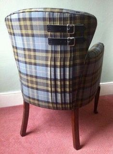 Tartan Chair from Sarah Whyberd. Love the buckle detail, but would be better on the front. No one would see it if the chair were against the wall. Funky Furniture, Furniture Makeover, Painted Furniture, Home Furniture, Tartan Chair, Tartan Decor, Upholstered Furniture, My New Room, Slipcovers