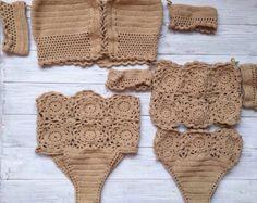 Crochet bikini crochet swimwear crochet swimsuit by MalaikaUA Bikinis Crochet, Crochet Bra, Crochet Bikini Top, Love Crochet, Crochet Clothes, Chevron Crochet Patterns, Crochet Designs, Crochet Fashion, Diy Fashion