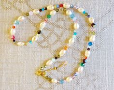 $41.55 Multi Coloured Swarovski Crystal and Cultured Pearl Necklace by BlueWorldTreasures on Etsy