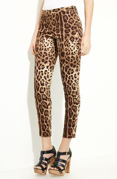 Dolce Leopard Print Stretch Cotton Pants available at Nordstrom