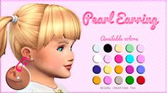 Miguel Creations TS4: Toddler - Pearl Earring