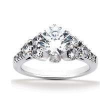 14k White Gold Diamond Accented Engagement Ring Containing 0.8 Carats Of Diamonds In Hi Color And Si1-si2 Clarity