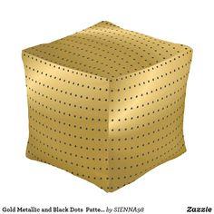 Gold Metallic and Black Dots  Pattern Cube Pouf