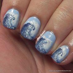 ocean waves nail design