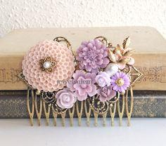 Pink Wedding Hair Comb Mauve Soft Lilac Purple Bridal Comb Flower Head Piece Gold Leaf Floral Comb Romantic Whimsical Nymph Vintage Style PM