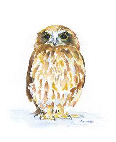 Owl Watercolor Painting Giclee Print 8 x 10 por SusanWindsor