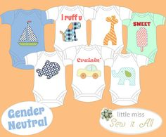 DIY Applique Onesie Templates for a Gender Neutral by SarahSaysSew, $20.00