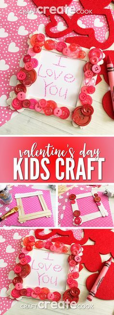 This Valentine Popsicle Stick Craft is such a cute and simple frame for the kids to make and give as a Valentine's Day gift. via /CraftCreatCook1/