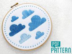 Clouds Embroidery Sampler Pattern, Needlework Sampler Kit, Hoop Art Pattern PDF…