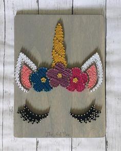 How cute is this unicorn!! 😍 #unicorn #unicornparty #unicornsarereal #unicornstringart #stringart #rainbow #cutenessoverload #wood #woodsigns #wooddecor #girldecor #handmade #handmadewithlove #supportsmallbusiness #shoplocal Diy Crafts To Do, Cute Crafts, Arts And Crafts, String Art Templates, String Art Patterns, Nail String Art, String Crafts, Hilograma Ideas, Unicorn Art