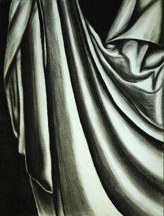 note how fabric falls into folds and creases Drapery Drawing, Fabric Drawing, Illusion Drawings, Still Life Drawing, A Level Art, Drawing Practice, Charcoal Drawing, Drawing Clothes, 2d Art