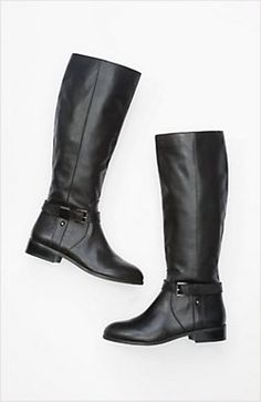 classic leather riding boots in a wider calf width