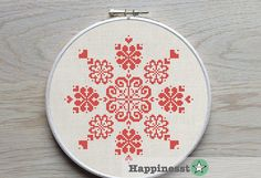 modern cross stitch pattern, flowers & hearts ornament, geometric pattern, folk art, PDF ** instant download**