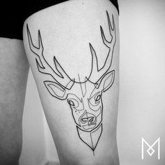 One Line Deer Tattoo by Mo Ganji