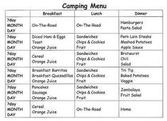 CampingwithGus.com Camp Food Camping menu