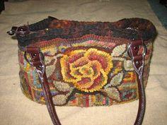 rughooking: hooked purse progress