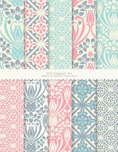 "Antique Pattern Digital Scrapbook Paper Pack (8.5x11""-300 dpi) -- 10 Digital papers -- 455. $3.00, via Etsy."