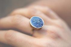 Amalia Vermell-Ring: porcelain, steerling silver