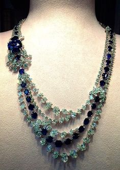 Natural Burma blue sapphire and diamond sautoir necklace by David Morris