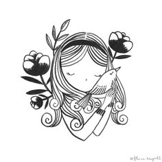Flora Waycott - Inktober Day 6 - I've always wanted to pick up birds and cuddle them as their feathers and tummies look so soft…xx