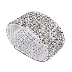 Bridal Rhinestone Stretch Bracelet Silver Tone - Ideal for Wedding, Prom, Party or Pageant * Check out this great product.