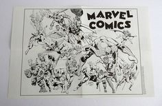"This is a vintage original 1989 Marvel Comics brochure/flyer/pamphlet, which unfolds into a 17 inch by 11 inch mini poster that shows many heroes from the Marvel Universe. This old 1980's Marvel kid's/children's fun-time brochure is 2 sided. Side 1 shows the poster, and side 2 shows ""Marvel Super Hero fun"" games, like a crossword puzzle, a ""seek n find"" word game, a Captain America ""color and write your own comic"" section, etc. It's FOLDED, which is how it was originally distributed"