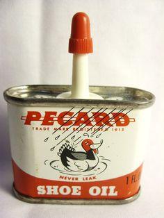 PECARD SHOE OIL can DUCK DECOY ADVERTING TIN