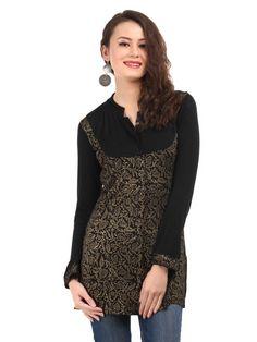 So Cool Party Wear Grey & Black Color #Designer #Kurti