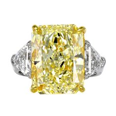 10.03ct Fancy Yellow Radiant Diamond Engagement Ring | From a unique collection of vintage three-stone rings at http://www.1stdibs.com/jewelry/rings/three-stone-rings/