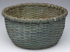 SHENANDOAH VALLEY OF VA PAINTED WHITE OAK SPLINT BASKET, with x wrap rim and kick up bottom, made without a handle, original dry apple green paint, possibly by a member of the Nichols family of basketmakers of Page County, VA, late 19th/early 20th century