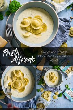 Recipe: Pasta Alfredo - delicious and simple - Gernekochen.de - The Alfredo sauce is such a quick and easy pasta sauce that is made with ingredients that you have - Salmon Pasta Recipes, Vegetarian Pasta Recipes, Best Pasta Recipes, Healthy Recipes, Alfredo Sauce, Easy Pasta Sauce, Slow Cooker Pasta, Crockpot, Tasty Kitchen