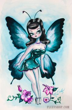 Original Fairy Painting  Sapphire Baby Doll Fairy by Miss Fluff available on Etsy