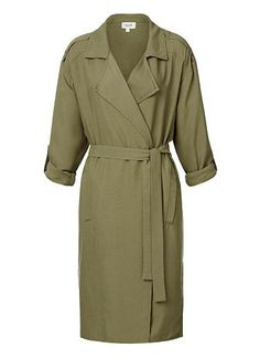 100% Textured Tencel Longline Cargo Anorak. Comfortable fitting silhouette features collar with waterfall lapel and waist tie, vertical welt pockets at front body, pull tabs at sleeves complete with a longline hem. Available in Combat as shown.