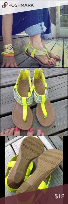 NEON YELLOW & RHINESTONE SANDALS Very BLINGY! Bright neon yellow vegan patent leather. Comfortable 1 inch wedge heel. Soft rubbery soles. Layers of glitzy rhinestone look embellishment. SM New York Shoes Sandals