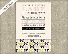 Little Girl Baby Shower Invitation with Bows by ApplesAndElephants, $12.00