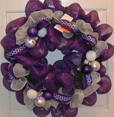 For the TCU Horned Frog in your family, here is a beautiful poly deco mesh wreath.
