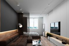 3 Luxury Apartments With Open Plan Bedroom Ideas - Modern Modern Bedroom Design, Home Room Design, Contemporary Bedroom, Modern Interior Design, Interior Architecture, Bedroom Designs, Appartement Design Studio, Studio Apartment Design, Apartment Interior