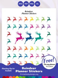 Planner Sticker Categories – Printables by Design Printable Planner Stickers, Printables, Free Planner Pages, Reindeer Silhouette, Christmas Tree Clipart, Life Planner, Sticker Paper, Christmas Time, Clip Art