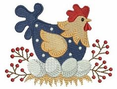 Country Chicken 2, 3 - 4x4 | Birds and Birdhouses | Machine Embroidery Designs | SWAKembroidery.com