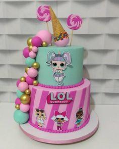 Doll Birthday Cake, Funny Birthday Cakes, 6th Birthday Parties, 7th Birthday, Lol Doll Cake, Surprise Cake, Lol Dolls, Cupcake Cakes, Owl Cakes